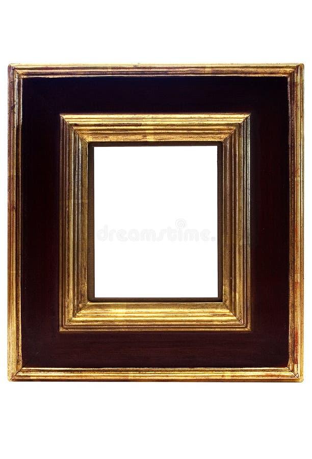Frame de retrato quadro ouro com trajeto fotos de stock
