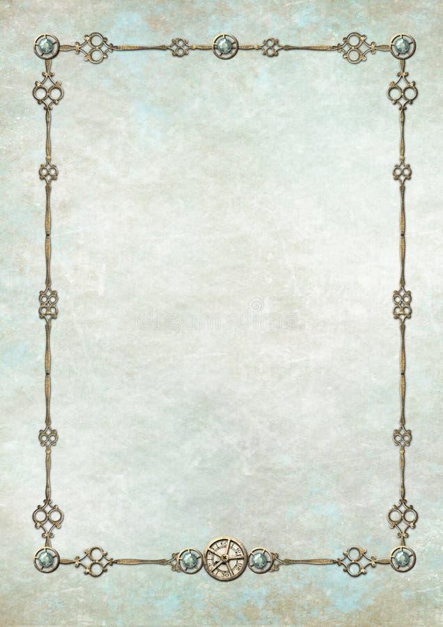 Frame de Steampunk com gemstones ilustração do vetor