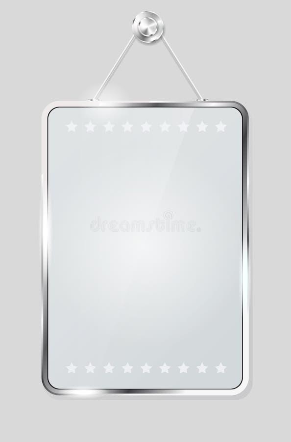 Frame de vidro transparente para sua mensagem ilustração stock