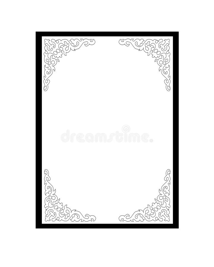 Frame with decoration in black and white royalty free stock photos