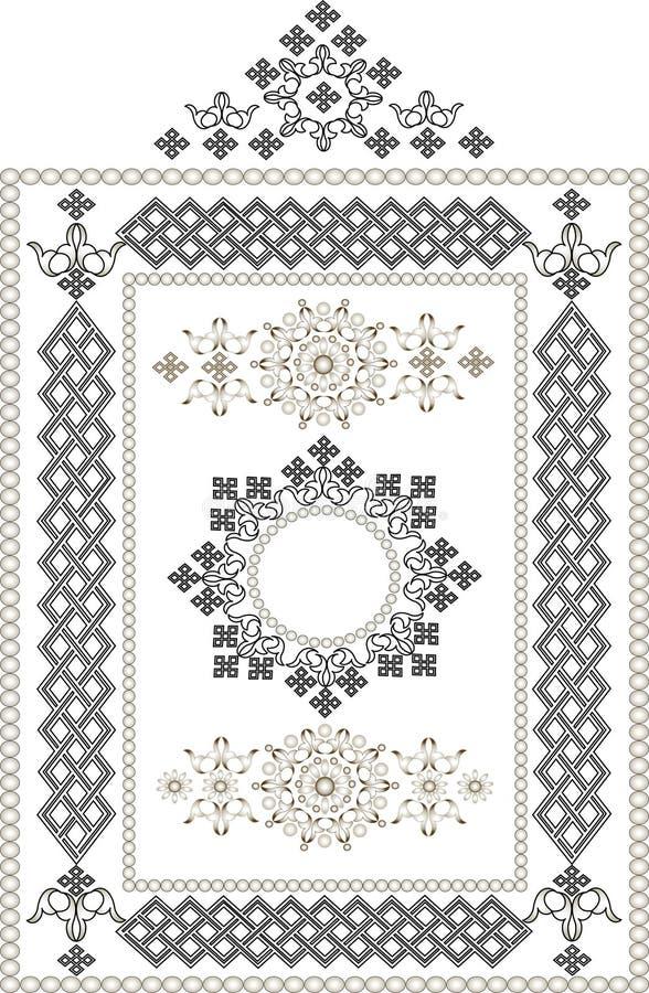 Frame decorativo, beira do ornamento oriental. Grap ilustração do vetor