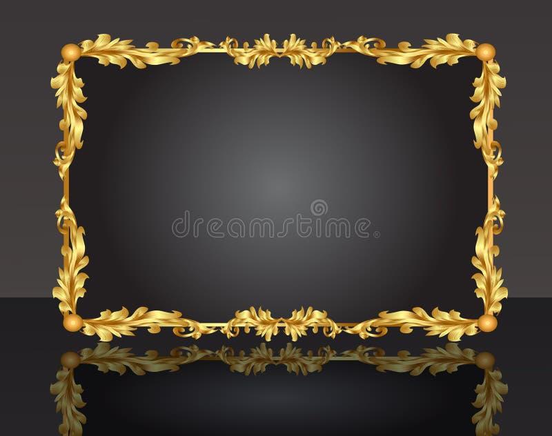 Frame decorativo com a folha do ouro do teste padrão fotografia de stock royalty free