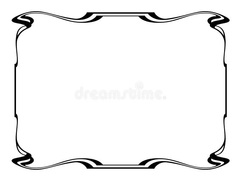 Frame decorativo decorativo do preto do nouveau da arte ilustração royalty free
