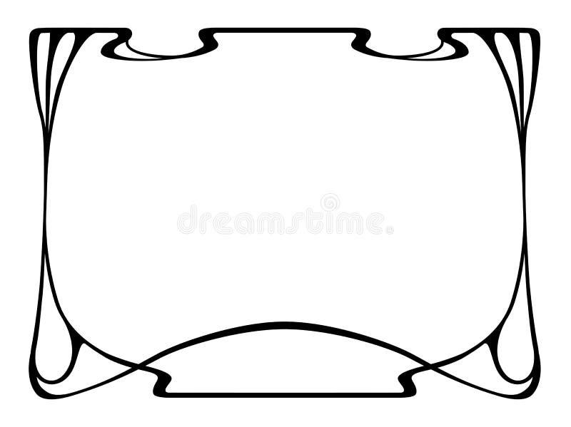 Frame decorativo decorativo do preto do nouveau da arte ilustração do vetor