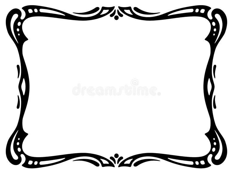 Frame decorativo decorativo do preto do nouveau da arte ilustração stock