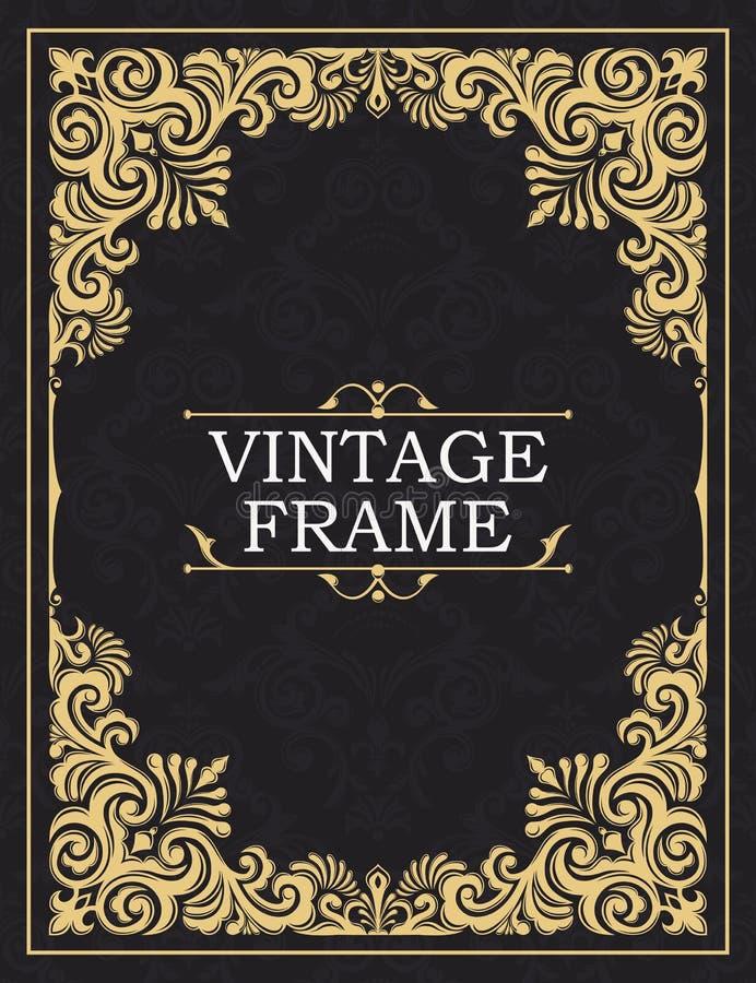 Frame decorativo do ouro Cartão no grunge ou no estilo retro Ornamento entrelaçado do vintage do vetor Flores e folhas ilustração do vetor