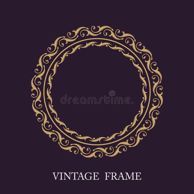 Frame decorativo do ouro Iniciais do monograma do molde do vetor Logotipo luxuoso do emblema do vintage elegante ilustração stock