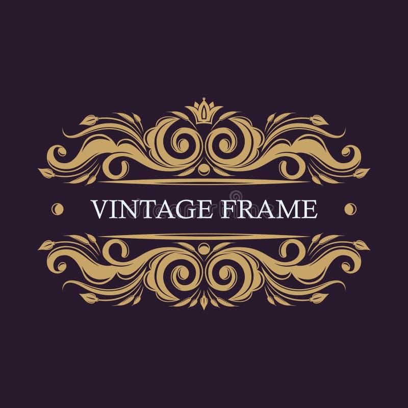 Frame decorativo do ouro Moldes do logotipo do vetor Monograma, iniciais, joia Logotipo elegante do emblema ilustração stock