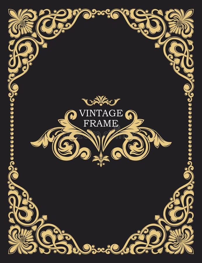 Frame decorativo do ouro Moldes do vintage do vetor O monograma passado, iniciais, joia Molde luxuoso ilustração royalty free