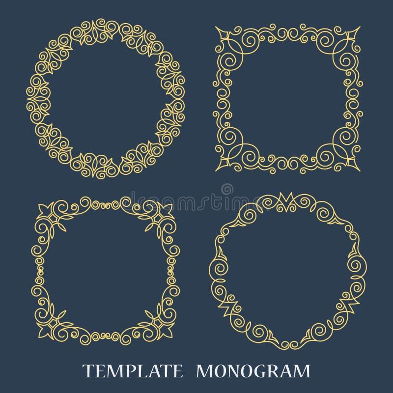 Frame decorativo do vetor Elemento elegante para o molde do projeto, lugar para o texto Beira floral cor-de-rosa ilustração royalty free