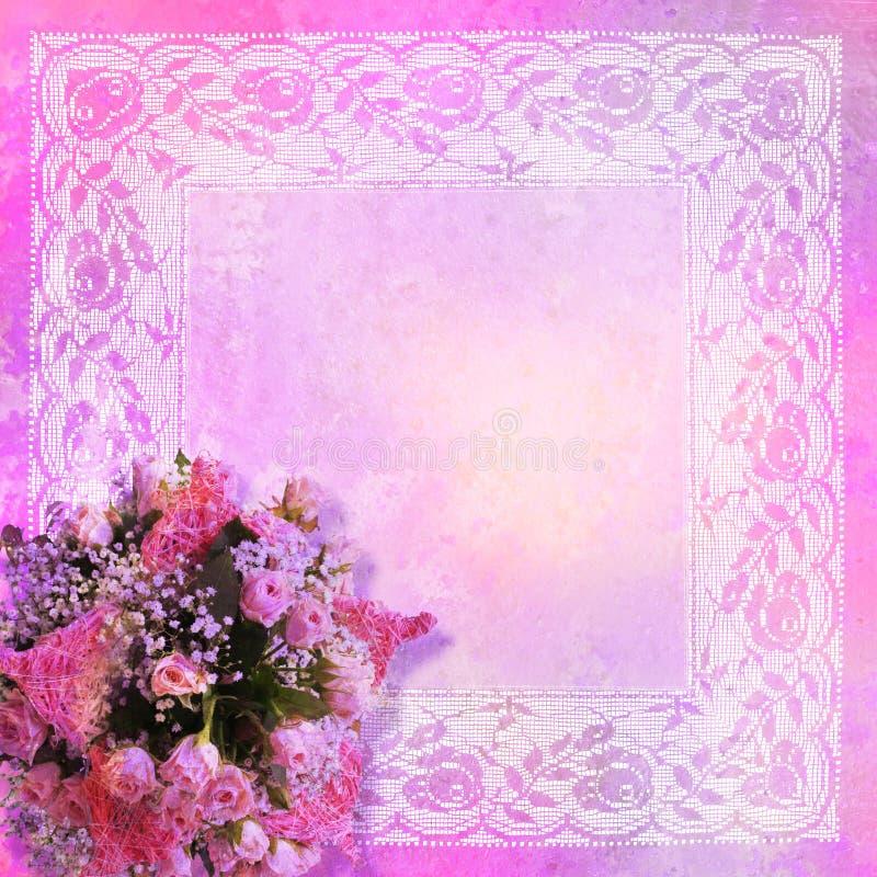 Frame denominado do laço com rosas ilustração royalty free
