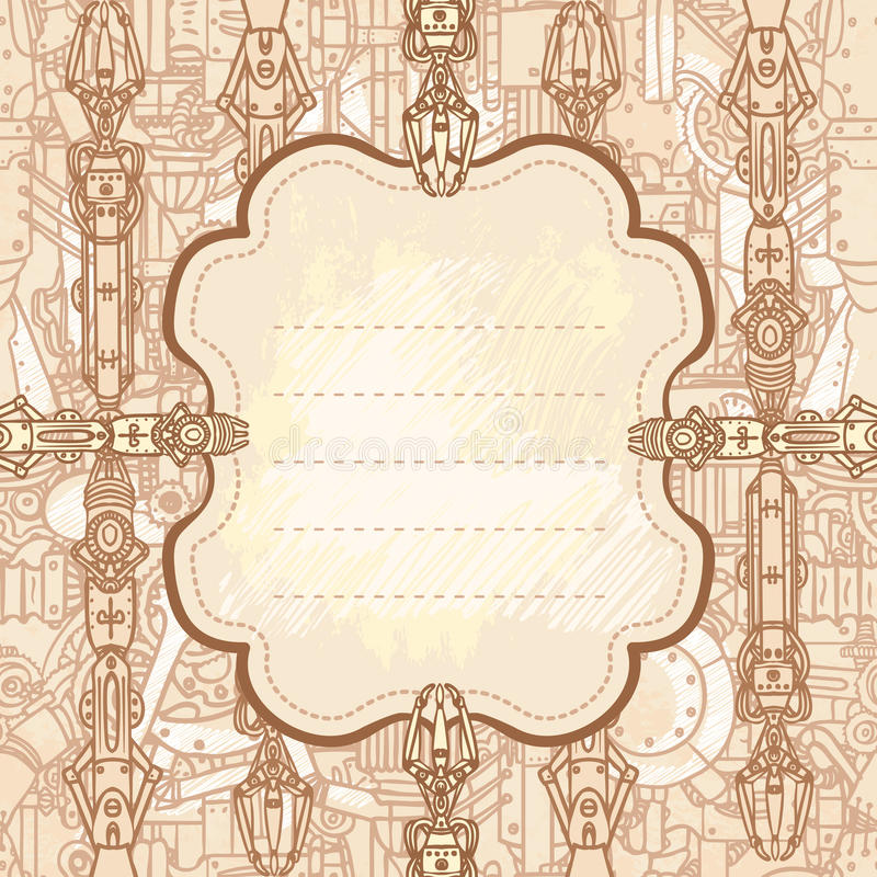 Frame desenhado do steampunk ilustração royalty free