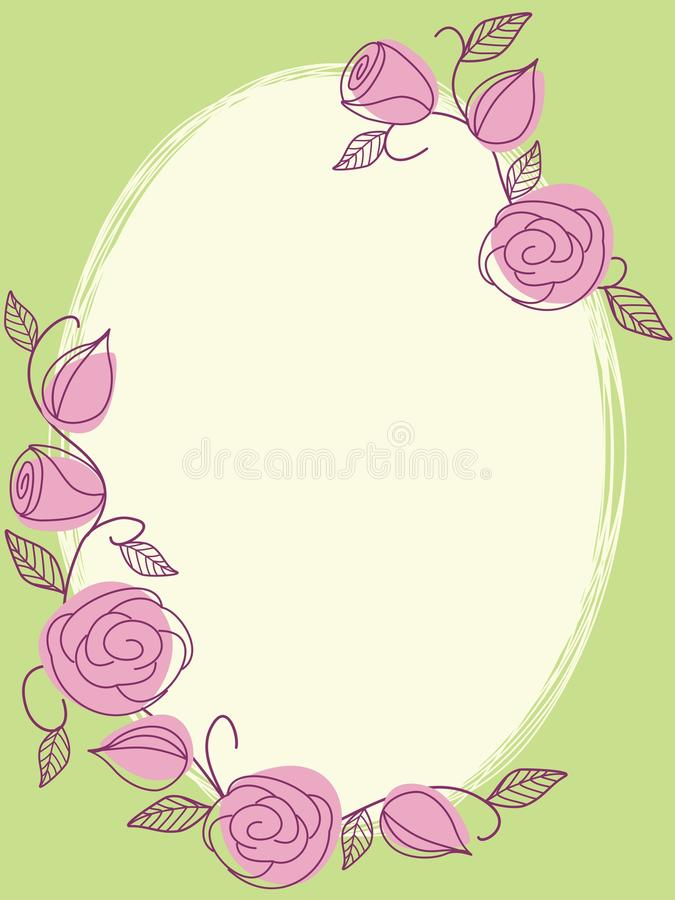 Frame desenhado mão da primavera com rosas ilustração royalty free