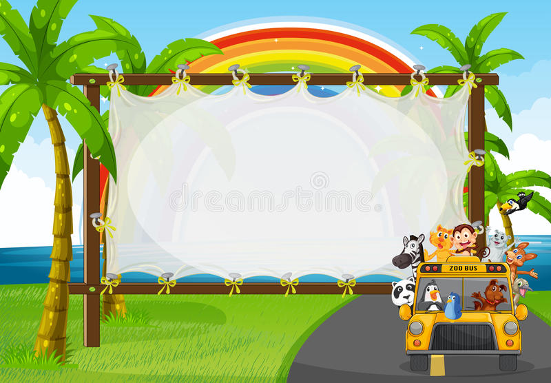 Frame design with animals on zoo bus royalty free illustration