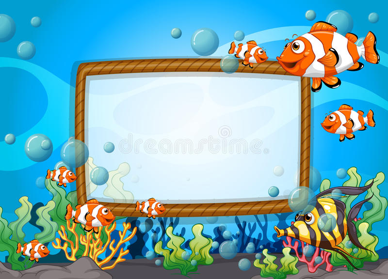 frame design with fish underwater stock vector image clownfish clipart #37 cute clownfish clipart