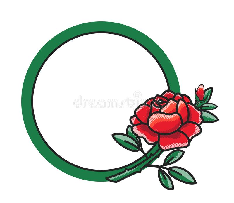 Frame Design with Hand Drawn Red Rose Green Leaves vector illustration