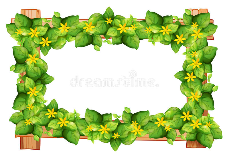 Download Frame Design With Leaves And Flower Stock Vector