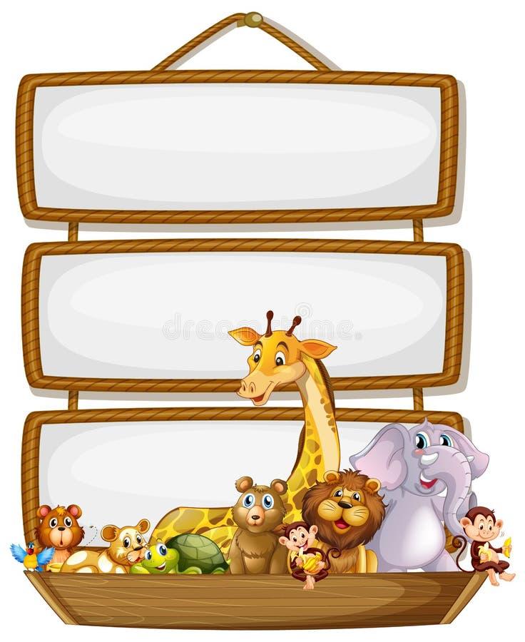 Frame design with many animals around border. Illustration stock illustration