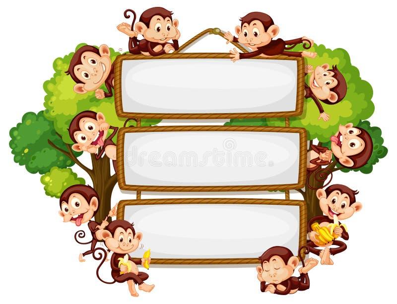 Frame design with many monkeys around border. Illustration royalty free illustration
