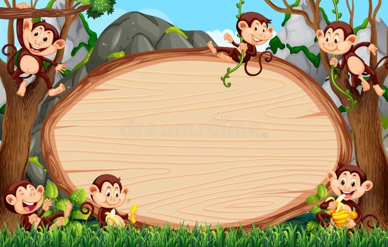 Frame design with many monkeys around border. Illustration vector illustration