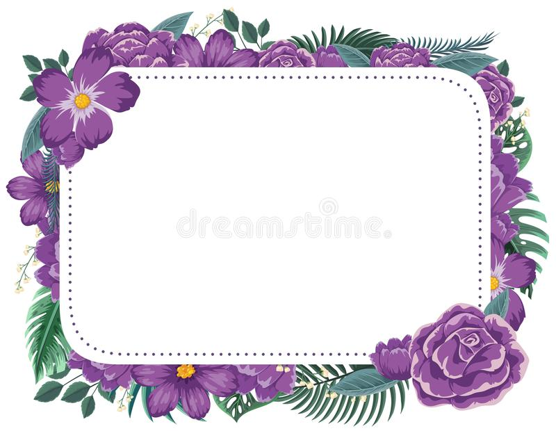 Frame design with purple flowers stock illustration