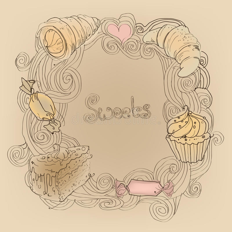 Frame with desserts. Hand drawn frame with desserts stock illustration