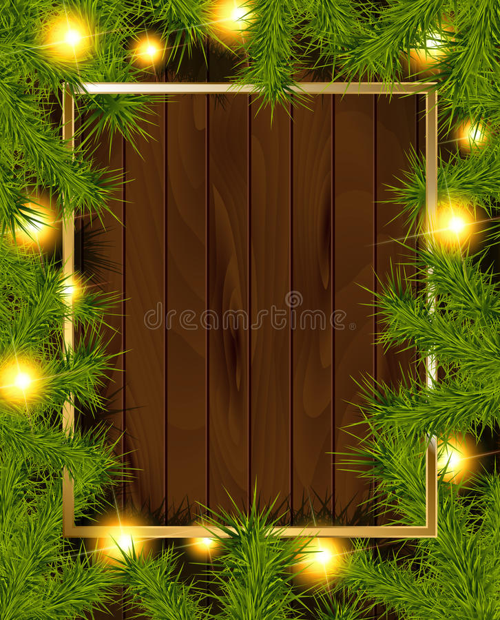 Frame of detailed Christmas tree branches. On isolated background, illustration vector illustration