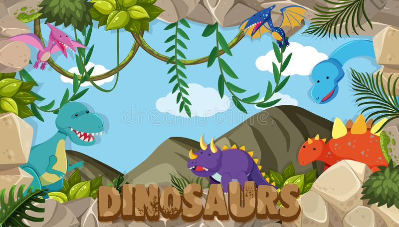 A frame of dinosaurs royalty free illustration