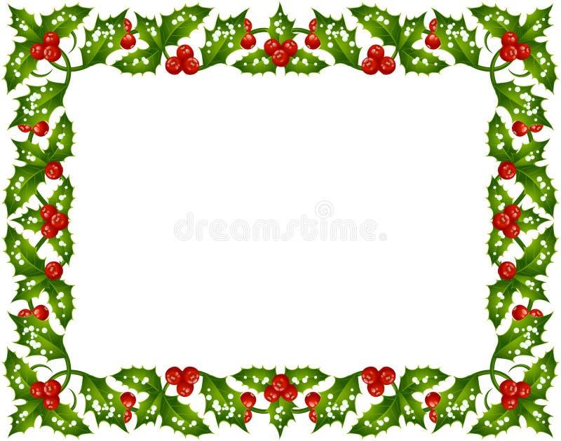 Frame do azevinho do Natal ilustração royalty free
