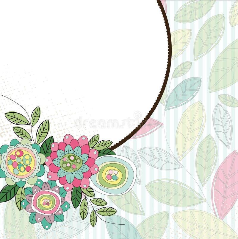 Frame do círculo com flores e folhas ilustração royalty free