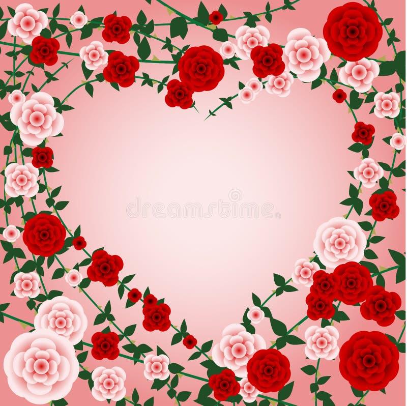 Frame do coração de Rosa ilustração stock
