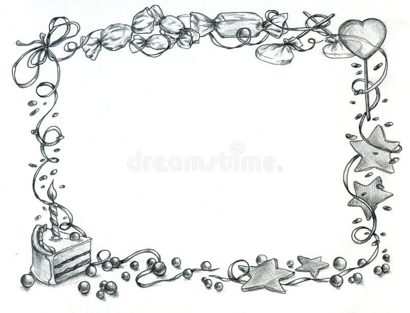 Frame do feliz aniversario ilustração stock