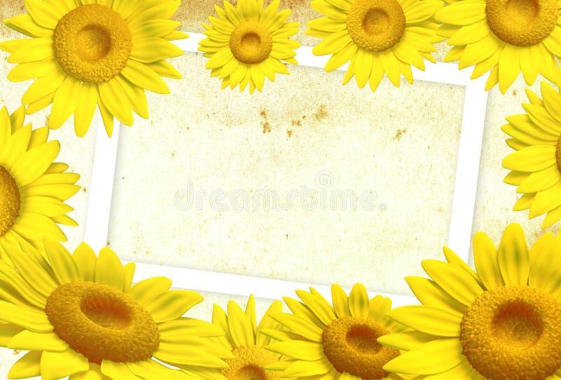 frame do girassol 3D ilustração stock