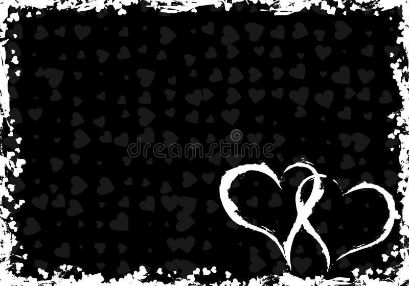 Frame do grunge dos Valentim com corações ilustração do vetor