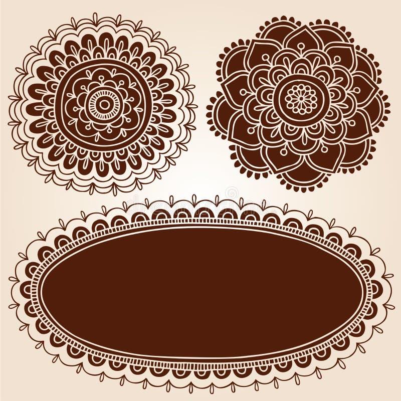 Frame do Henna e projetos do vetor da silhueta de Flowes ilustração stock