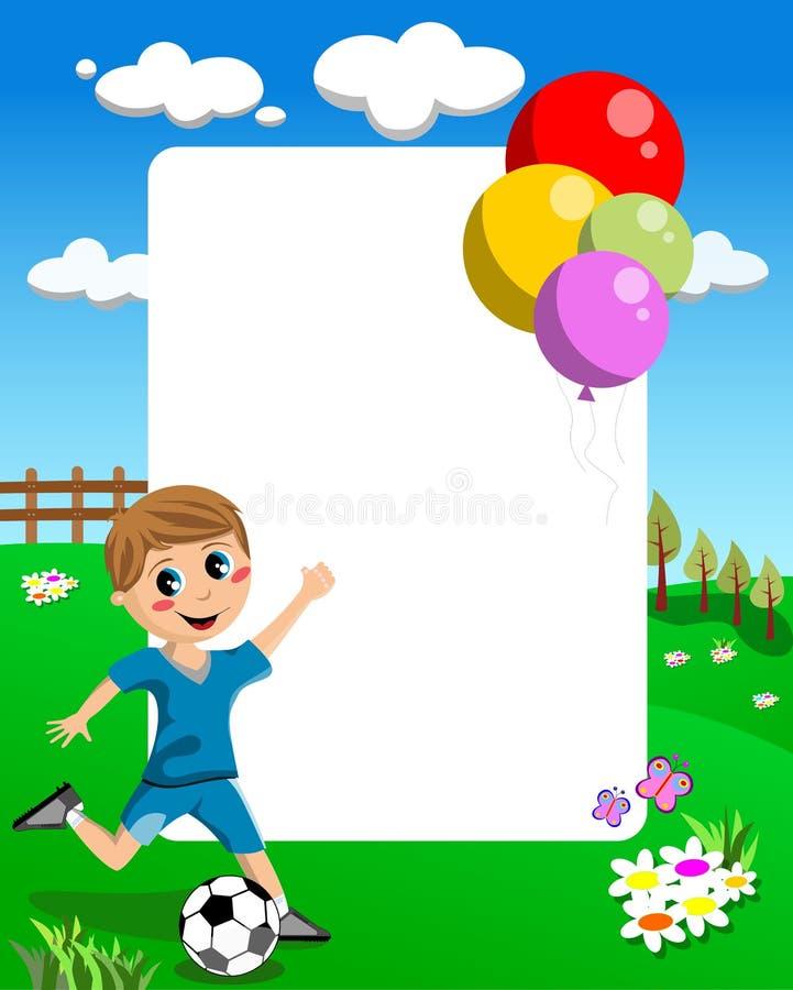 Frame do menino do futebol ilustração do vetor