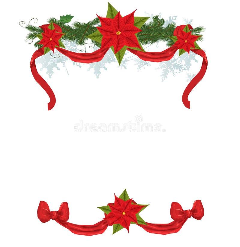 Frame do Natal com pointsettia ilustração do vetor