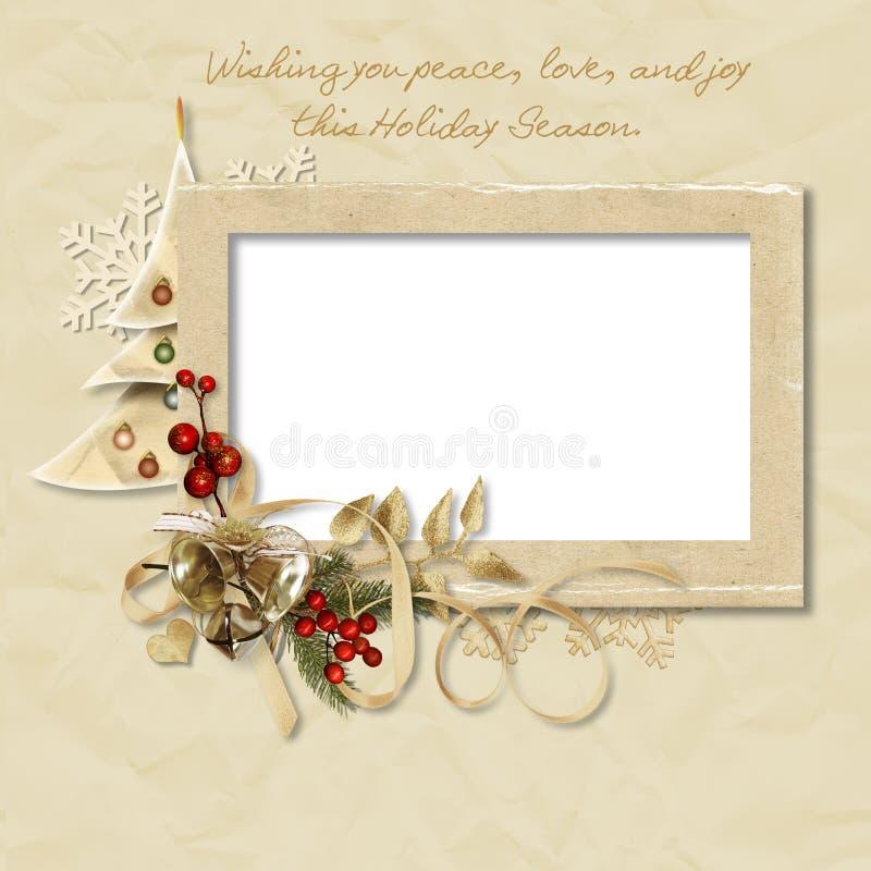 Frame do Natal do vintage com os desejos ilustração stock