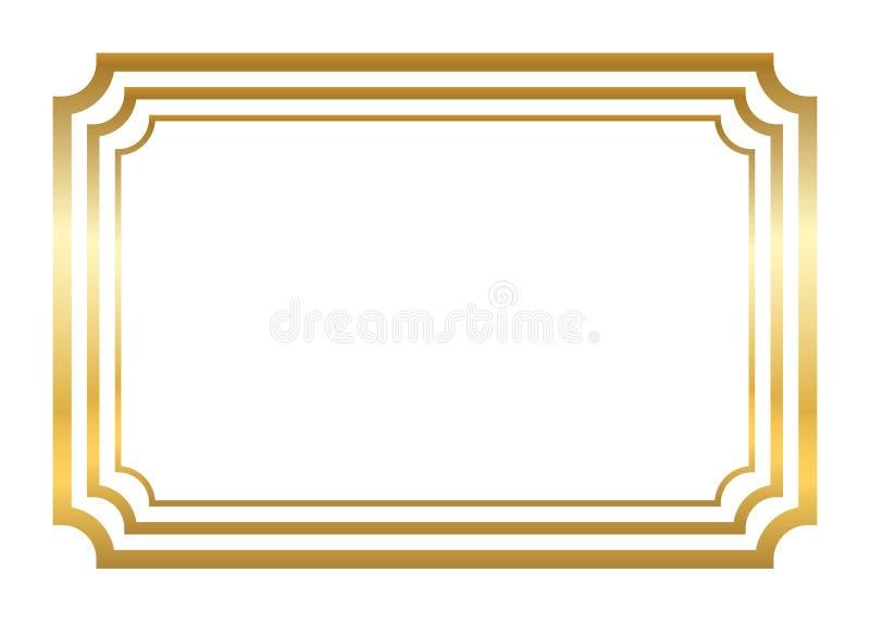 Frame do ouro Estilo dourado simples bonito ilustração stock