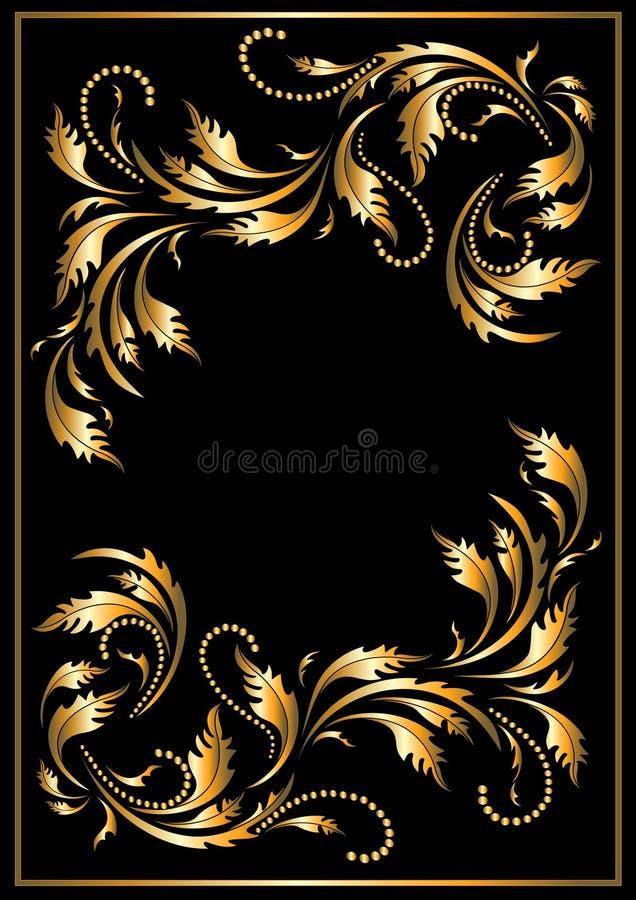 Frame do ouro no estilo gótico. Quadro. ilustração do vetor