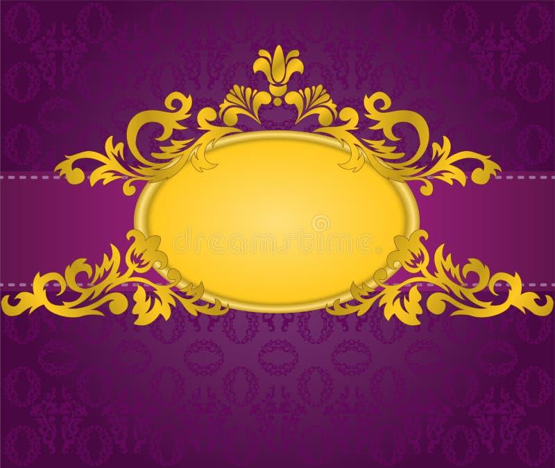 Frame do ouro no fundo roxo ilustração do vetor