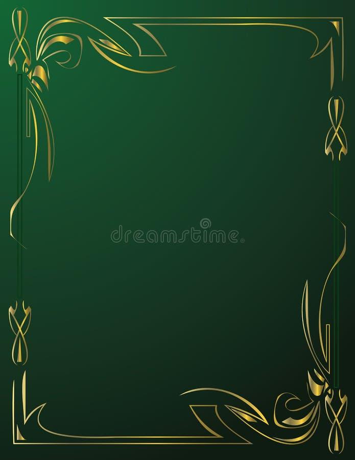 Frame do ouro no fundo verde foto de stock royalty free