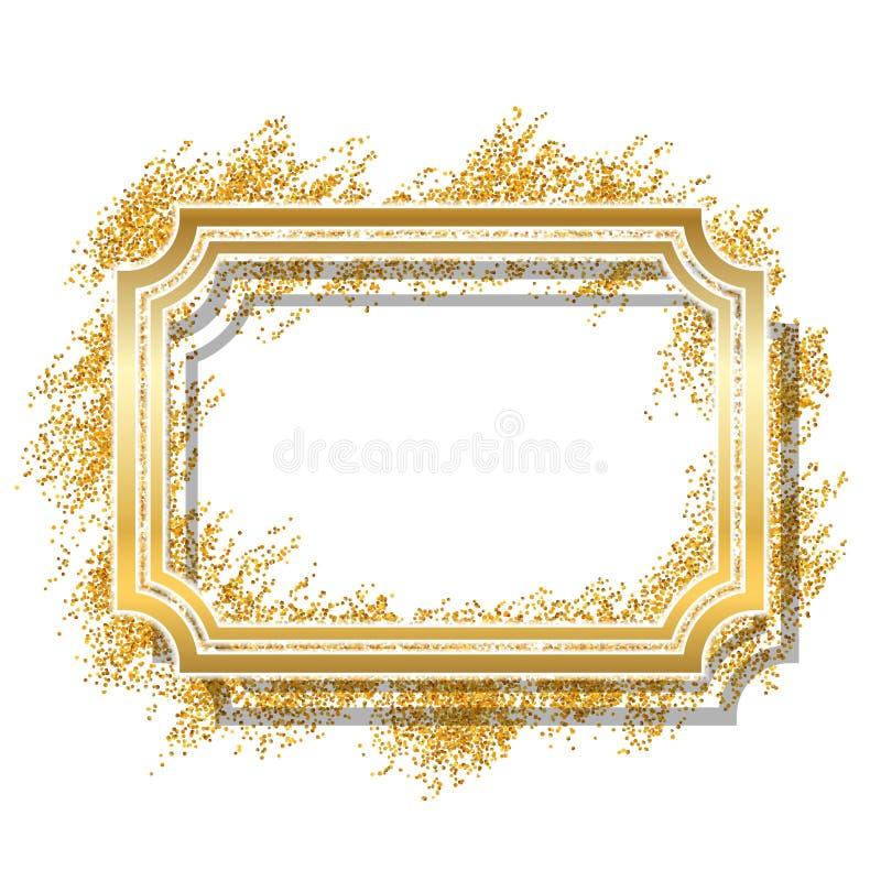 Frame do ouro Projeto dourado bonito do brilho Beira decorativa do estilo do vintage, fundo branco isolado Deco elegante ilustração royalty free