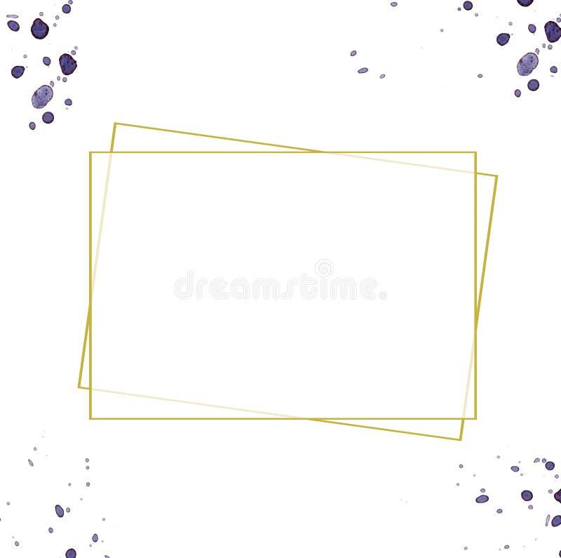 Frame do ouro Projeto dourado simples bonito Beira decorativa do estilo do vintage, isolada no fundo branco Objeto da arte elegan ilustração do vetor