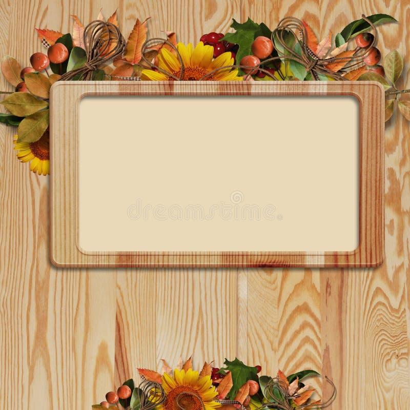 frame do outono no fundo de madeira ilustração stock