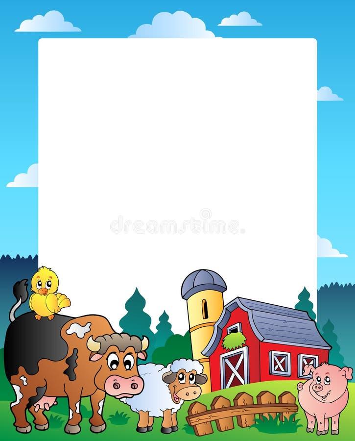 Frame do país com celeiro vermelho 1 ilustração do vetor