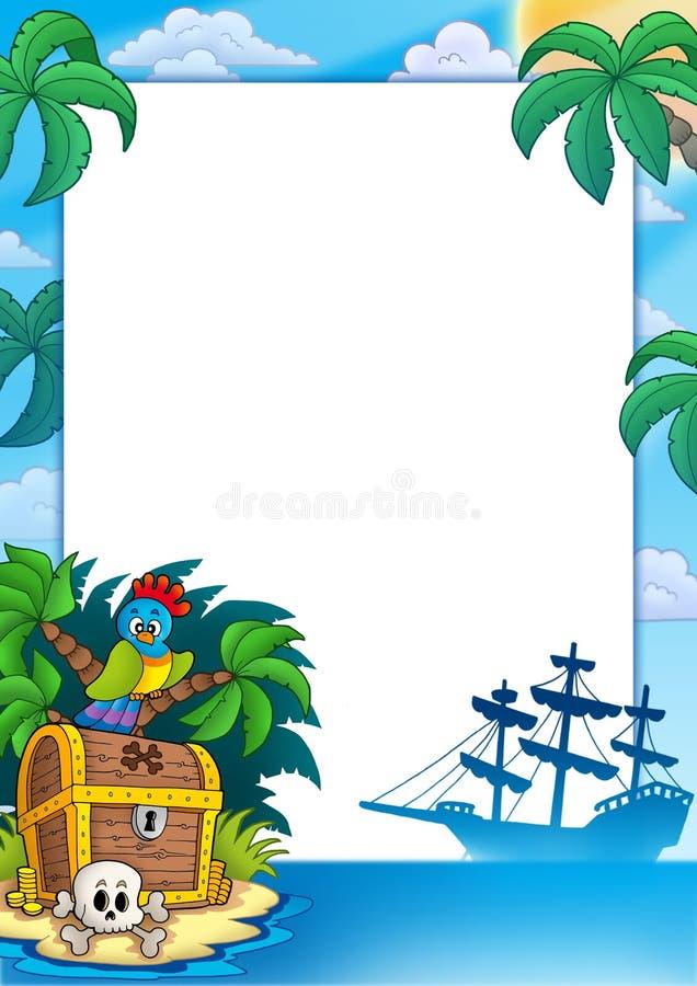 Frame do pirata com console do tesouro ilustração do vetor