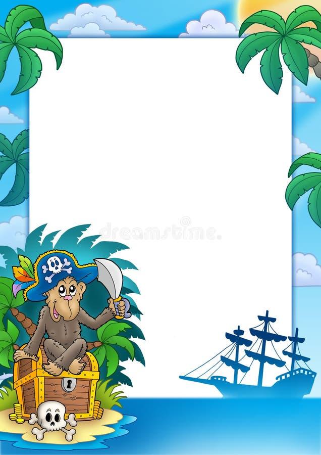 Frame do pirata com macaco ilustração royalty free