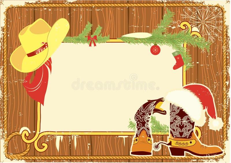 Frame do quadro de avisos com carregadores de cowboy ilustração royalty free