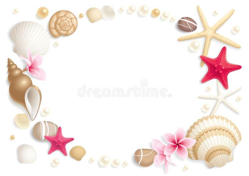 Frame do Seashell ilustração stock